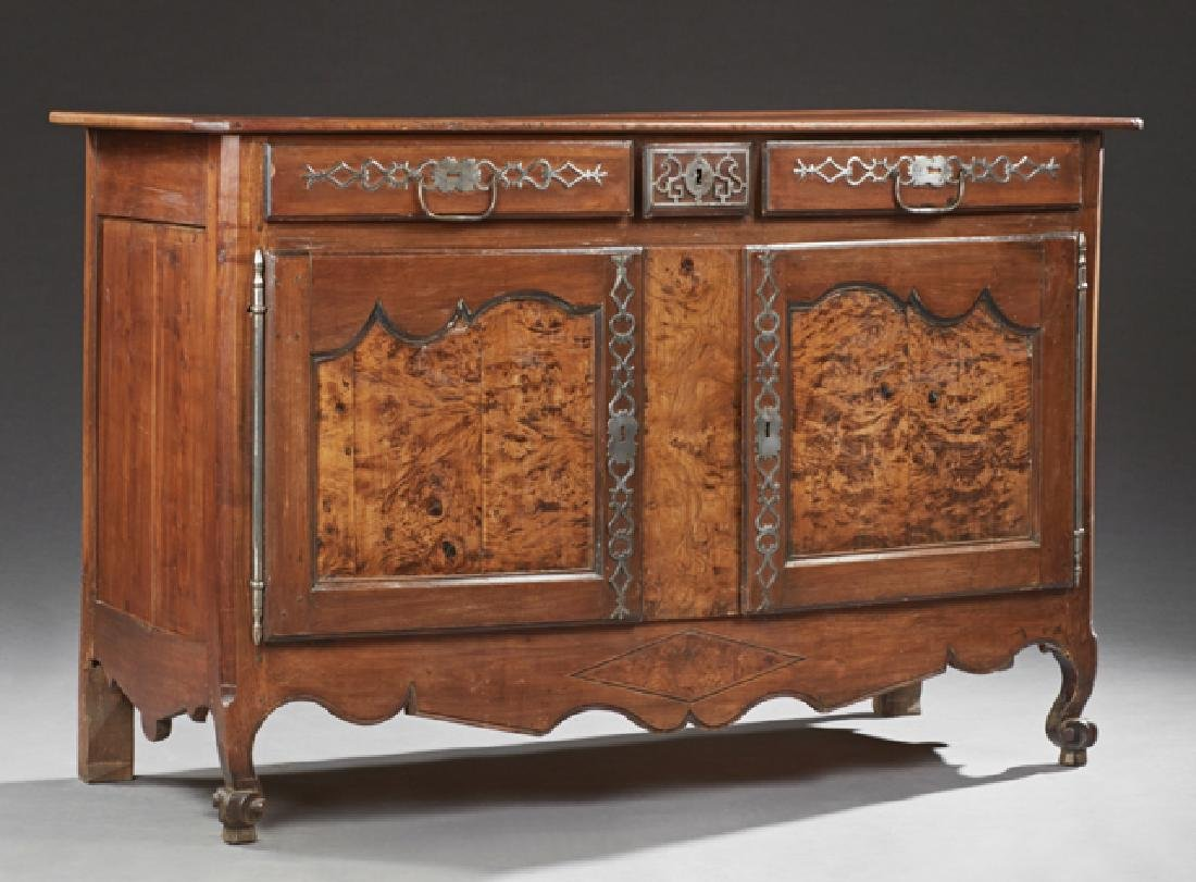 French Louis XV Style Carved Cherry and Elm Sideboard,