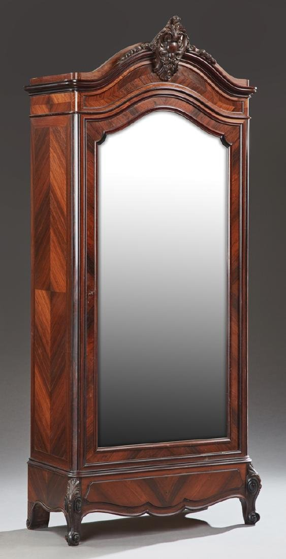 French Louis XV Style Carved Mahogany Armoire, late