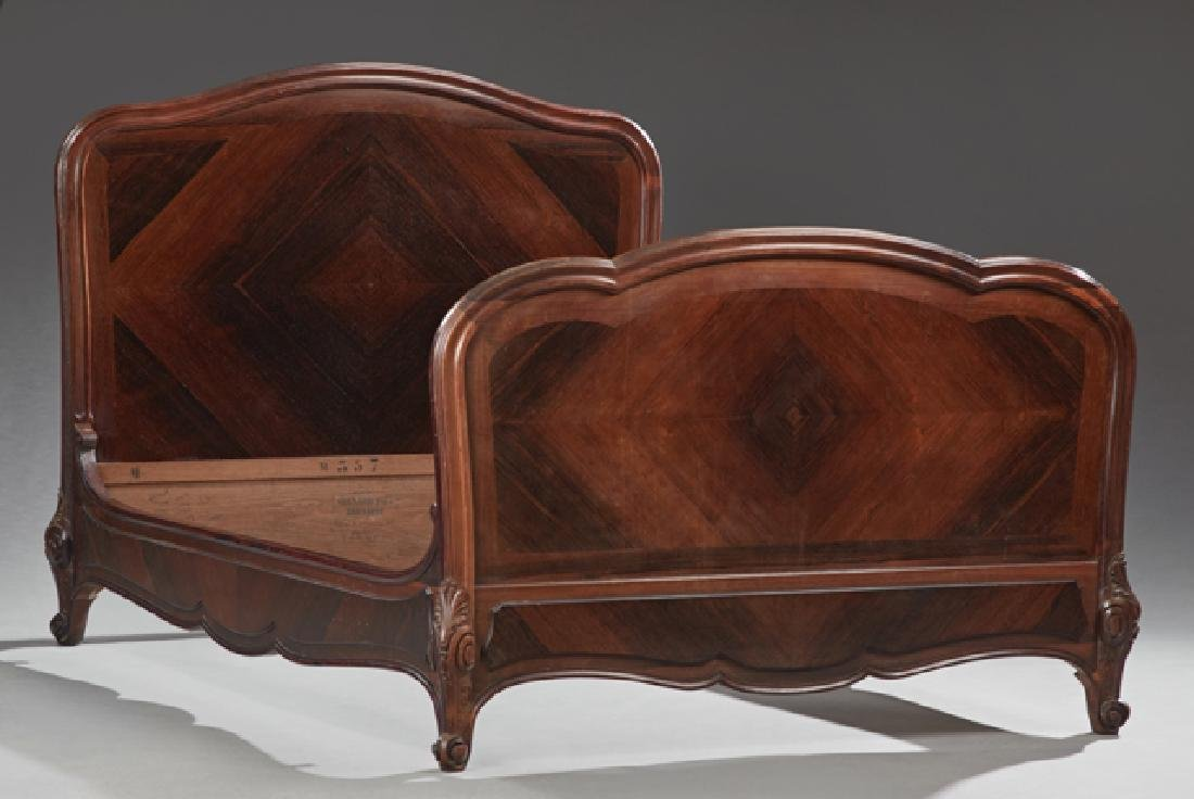 French Louis XV Style Carved Rosewood Double Bed, c.