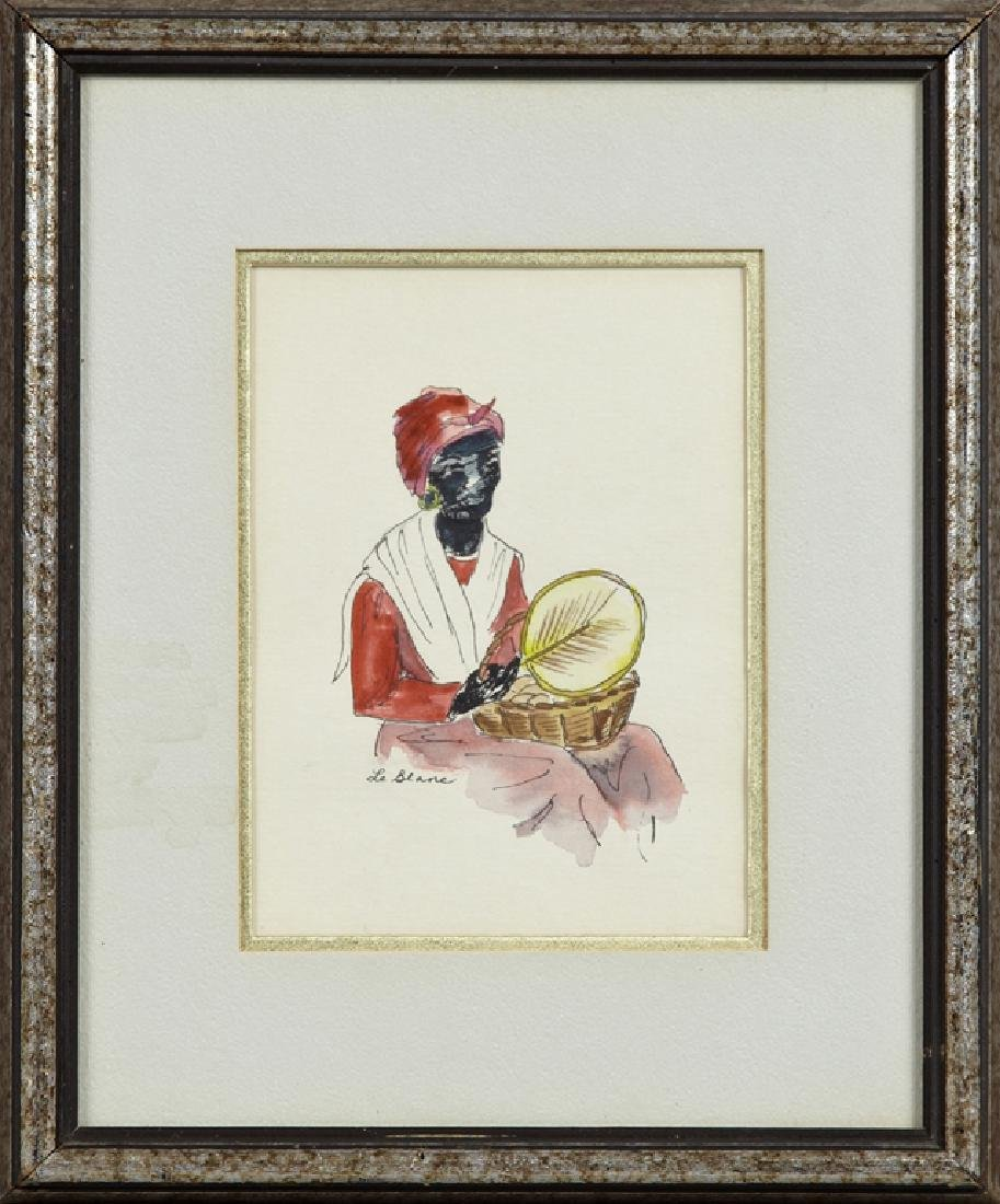 """LeBlanc, """"Mammy with Basket of Bread and Fan,"""" 20th c.,"""