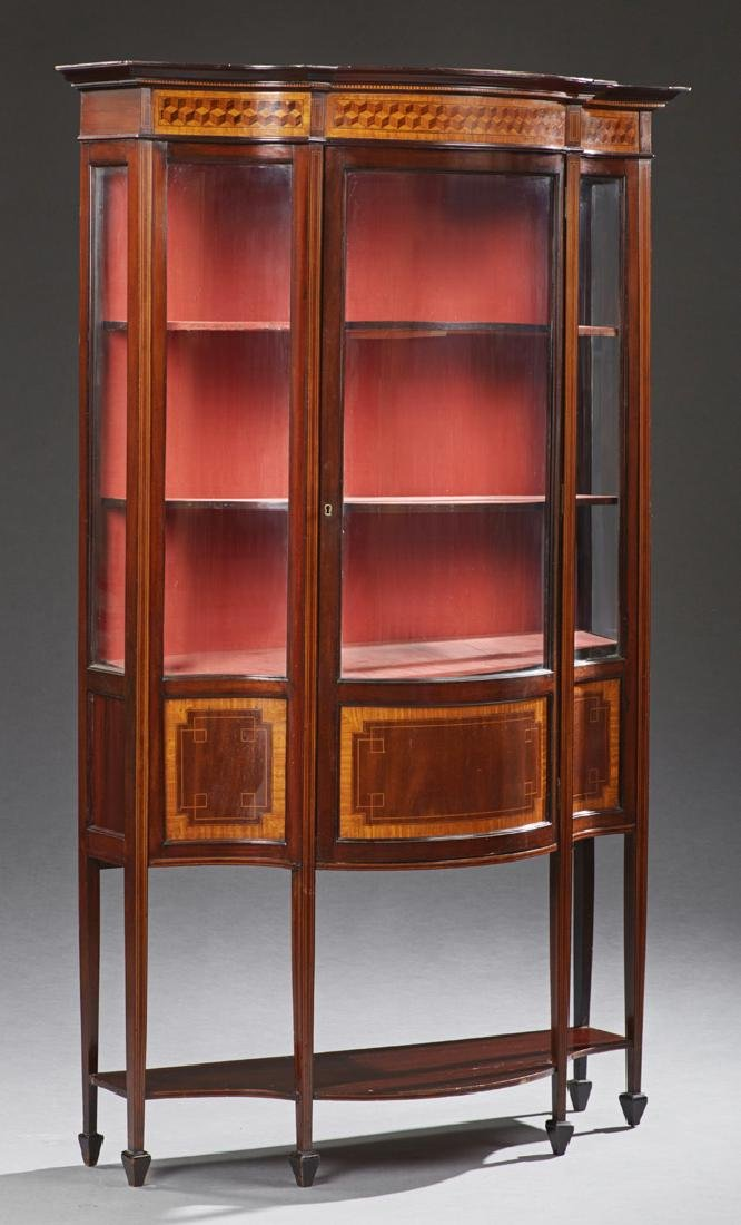 English Edwardian Carved Inlaid Mahogany Curio Cabinet,