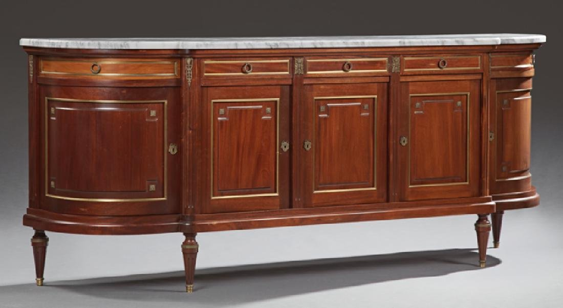 Louis XVI Style Ormolu Mounted Carved Mahogany Marble