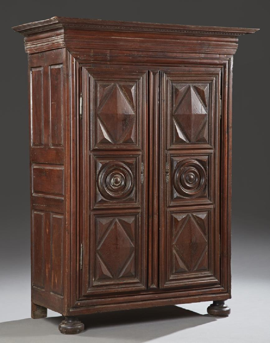 French Louis XIII Style Carved Oak Armoire, 19th c.,