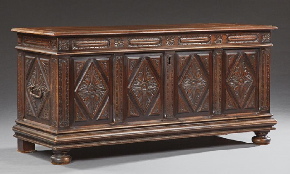French Provincial Carved Walnut Coffer, early 19th c.,
