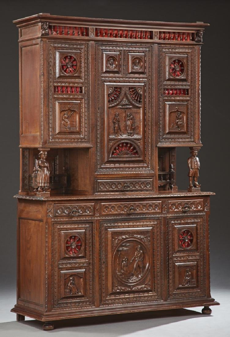 French Provincial Carved Oak Buffet a Deux Corps, 19th