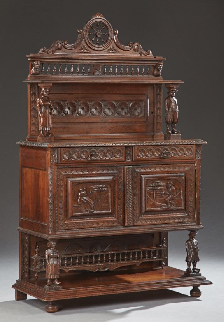 French Provincial Carved Oak Server, 19th c., Brittany,