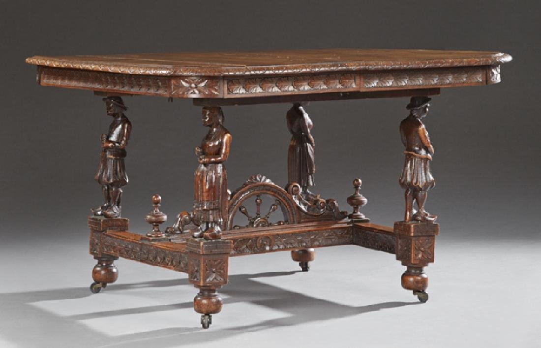 French Provincial Carved Oak Dining Table, 19th c.,