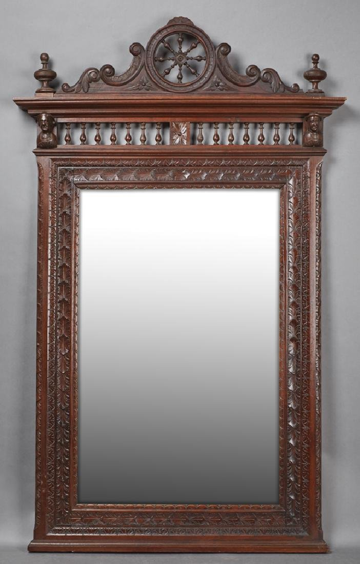 French Carved Oak Henri II Style Overmantle Mirror,