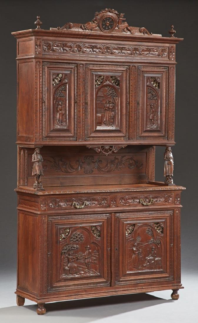 French Carved Oak Buffet a Deux Corps, late 19th c.,