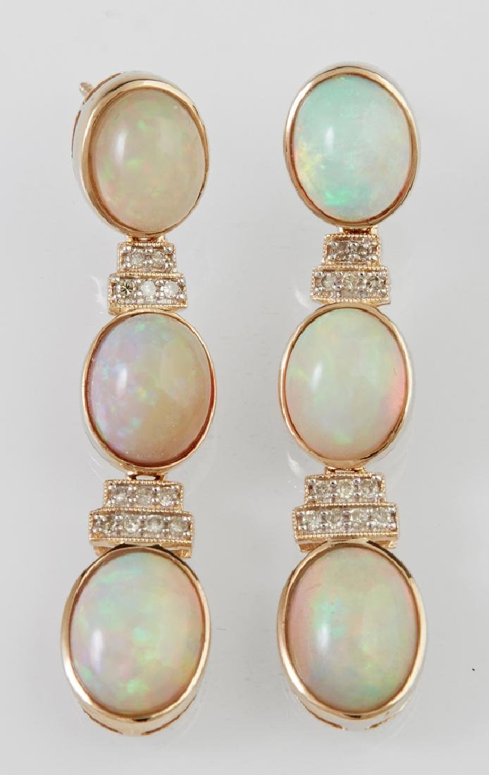 Pair of 14K Yellow Gold Pendant Earrings, each with a