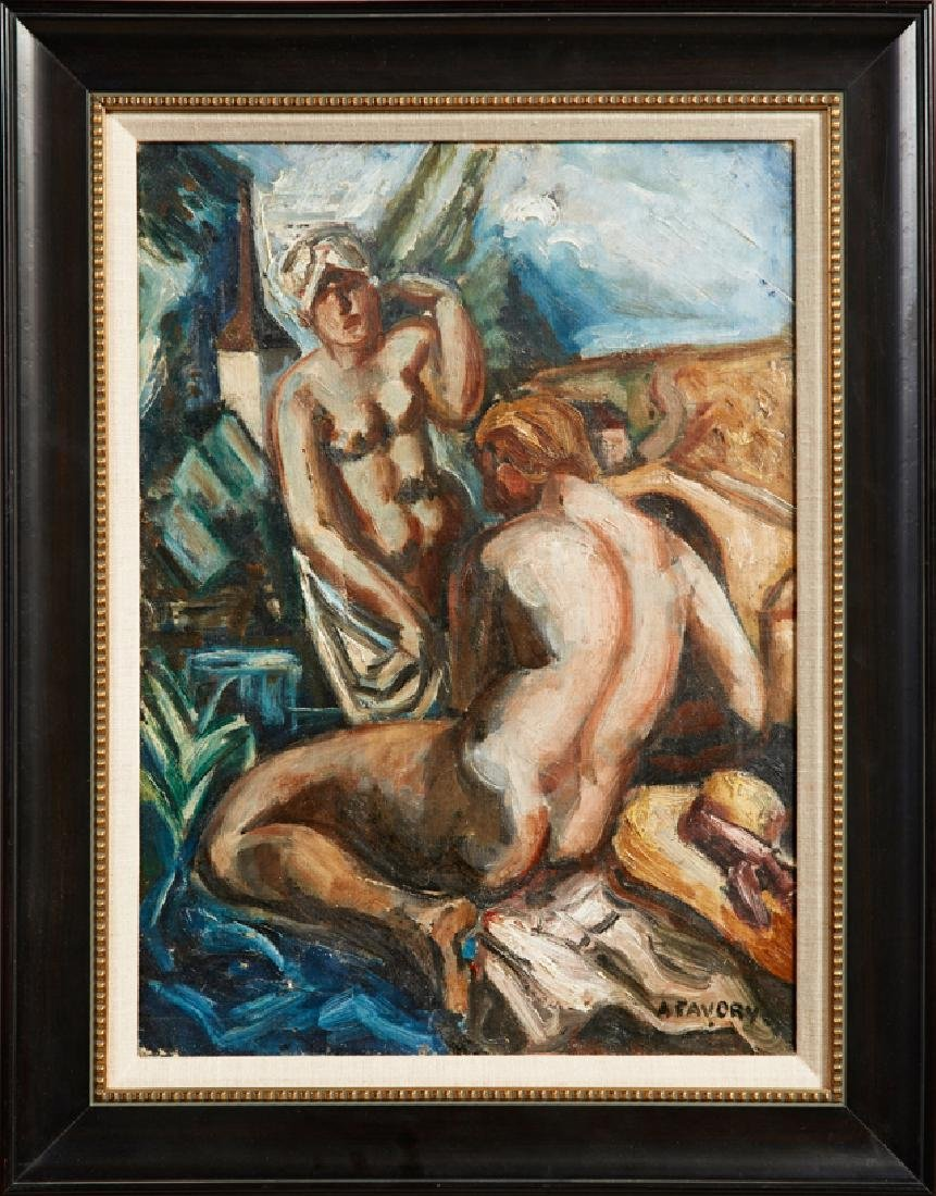 """Andre Favory (1888-1937), """"Two Nudes,"""" 20th c., oil on"""