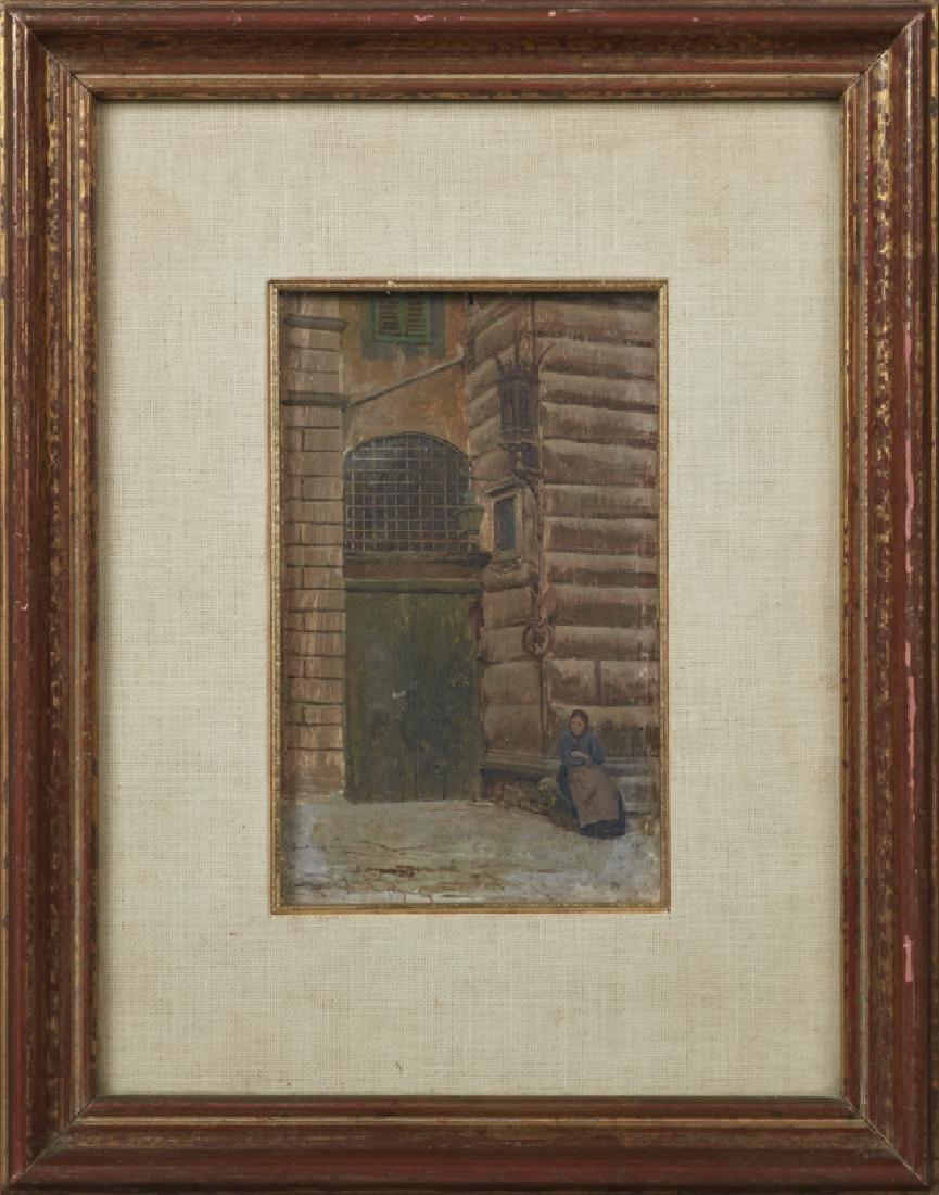 "Ferrucio Moro (1859-1907), ""Seated Woman by a Doorway"