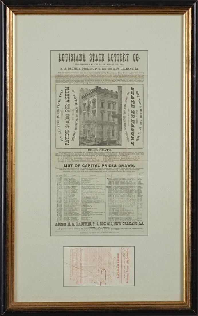 Rare Louisiana Lottery Broadside and Ticket, May 13,