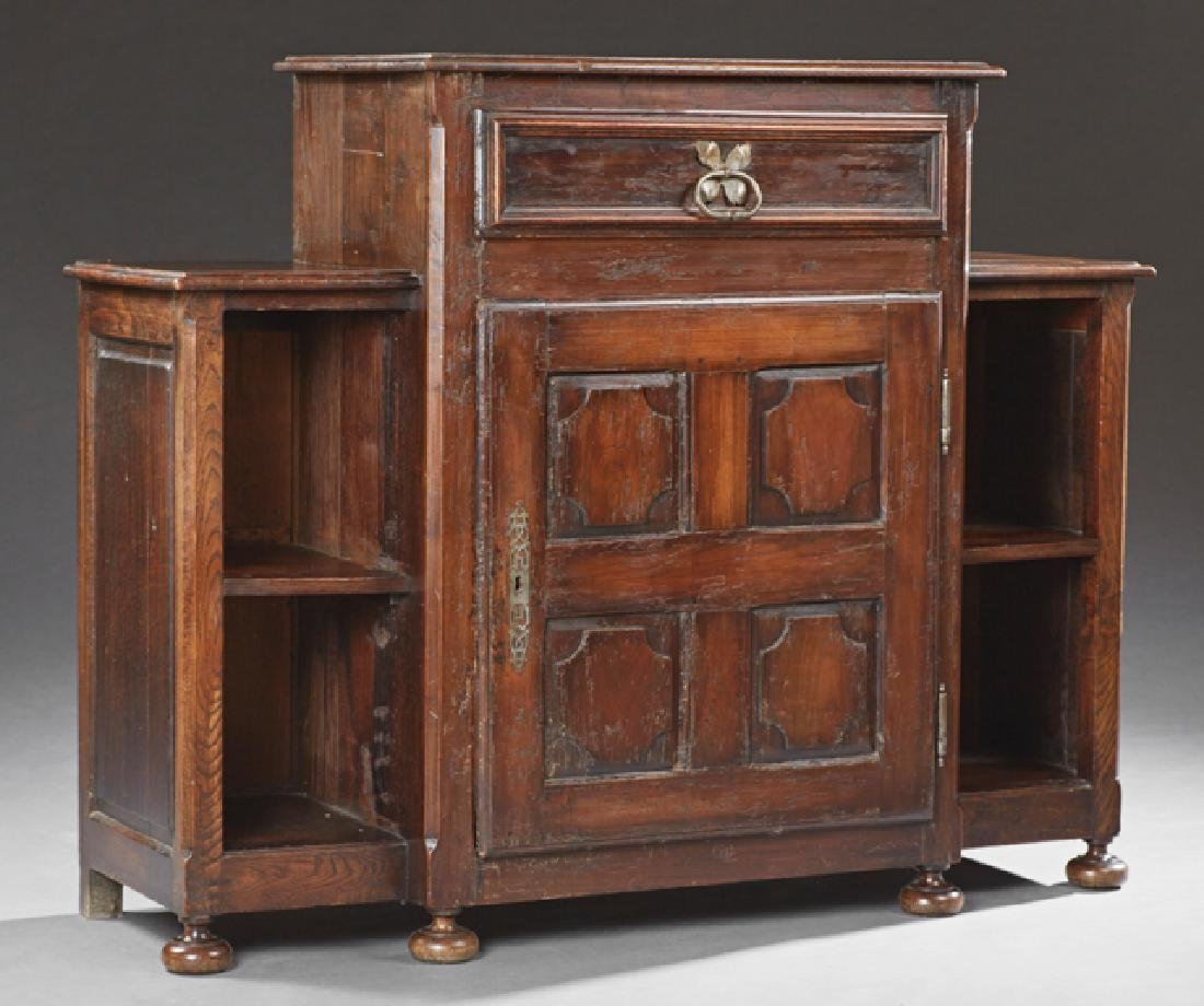 Unusual French Provinical Carved Oak Confiturier, 19th
