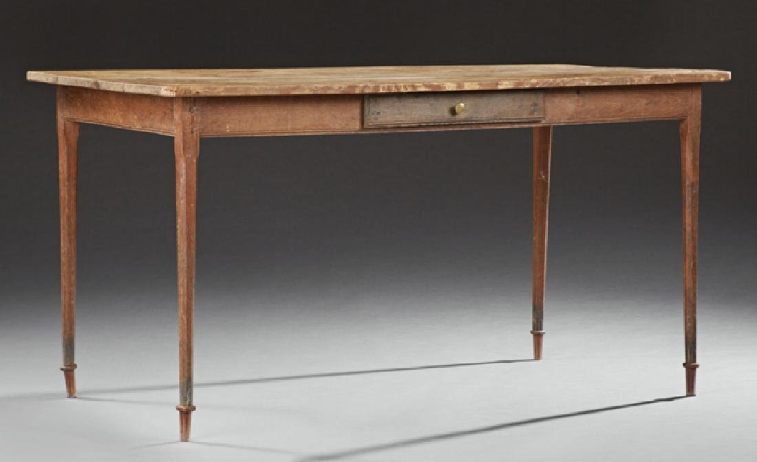 French Provincial Carved Pine Farmhouse Table, 20th c.,