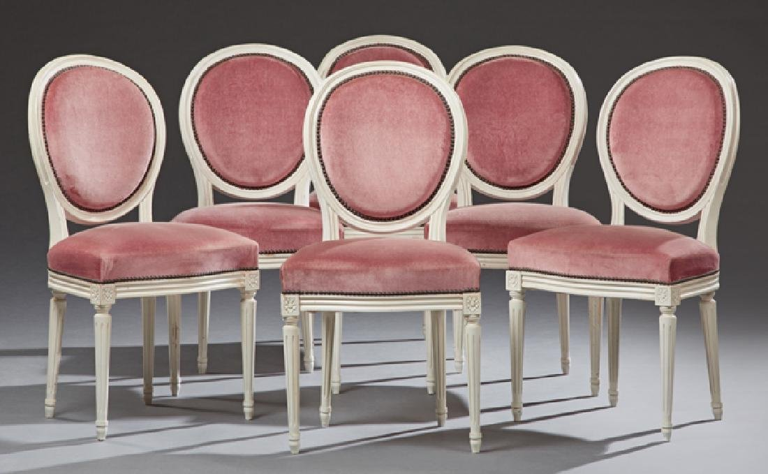 Set of Six French Louis XVI Style Polychromed Dining