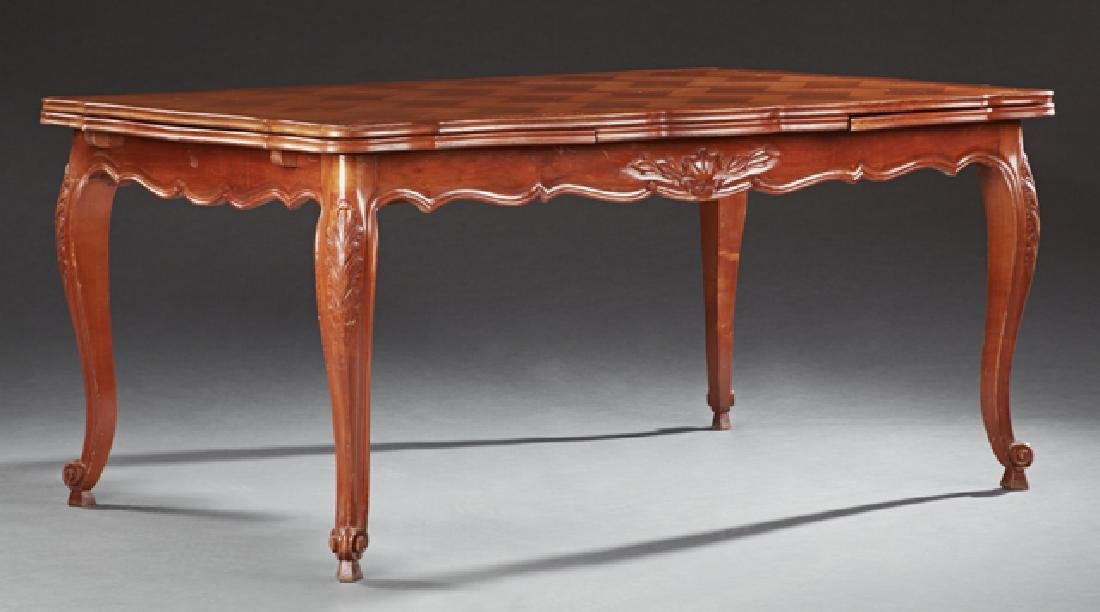 French Louis XV Style Carved Cherry Draw Leaf Dining