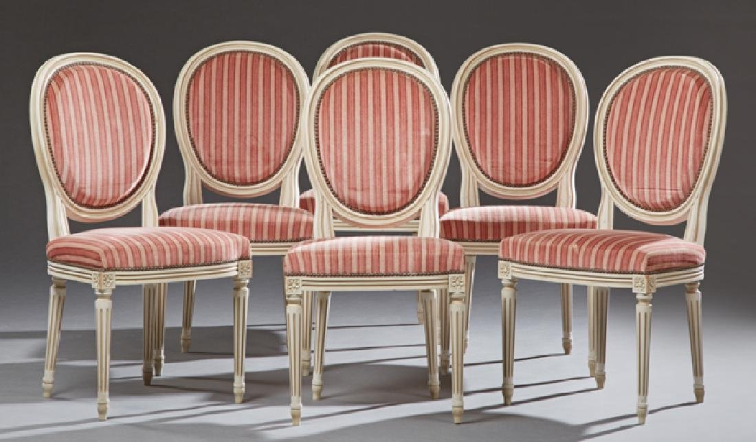 Set of Six French Polychromed Beech Louis XVI Style
