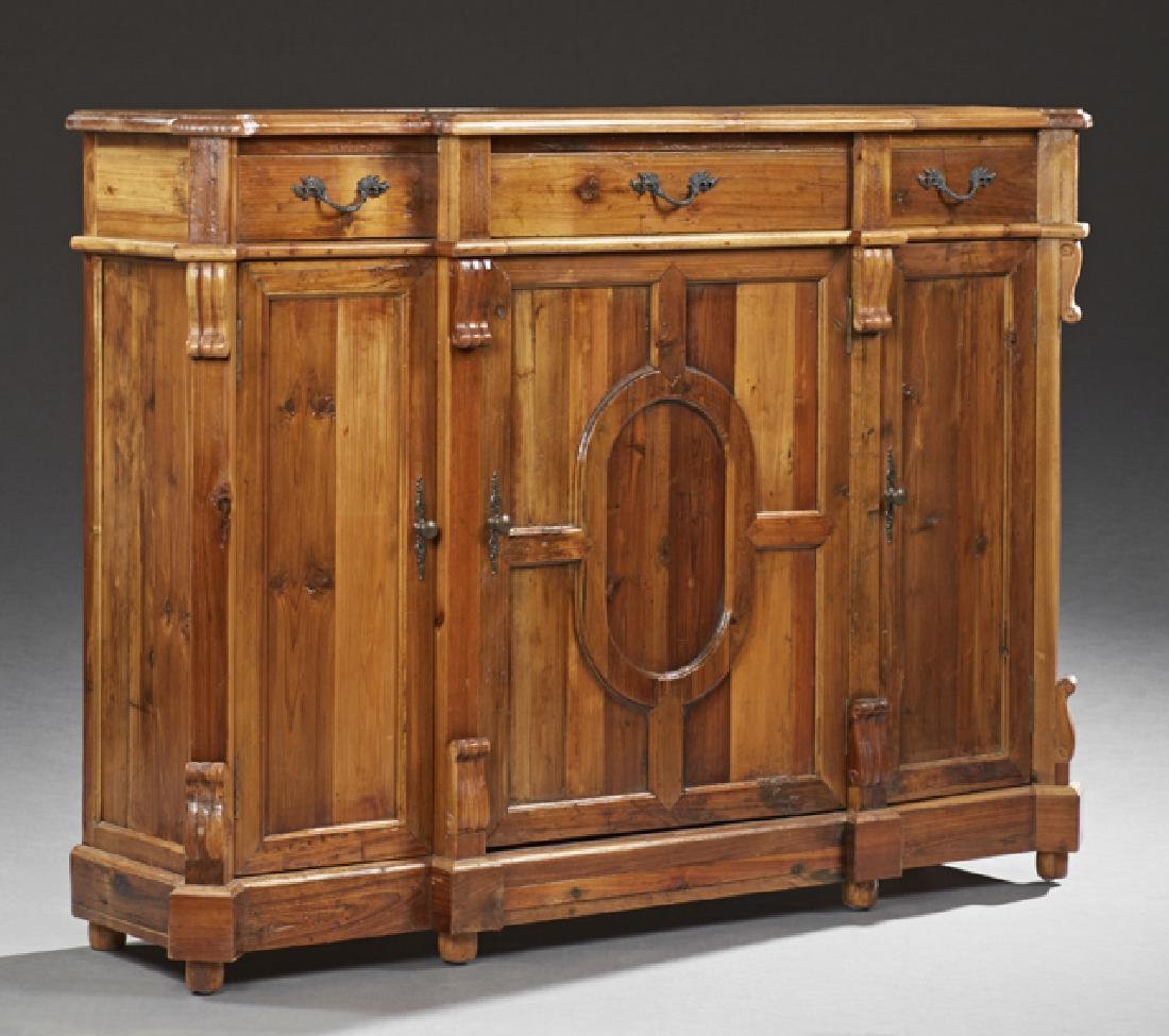 Continental Style Carved Pine Sideboard, late 20th c.,