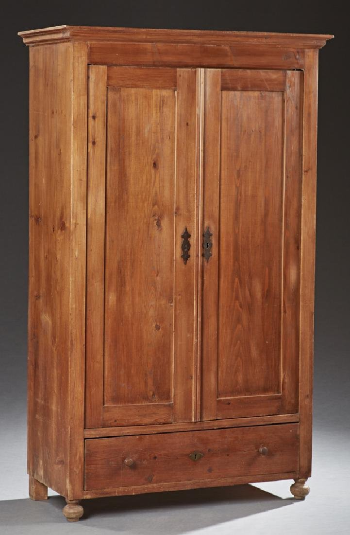 American Carved Pine Armoire, 19th c., the stepped