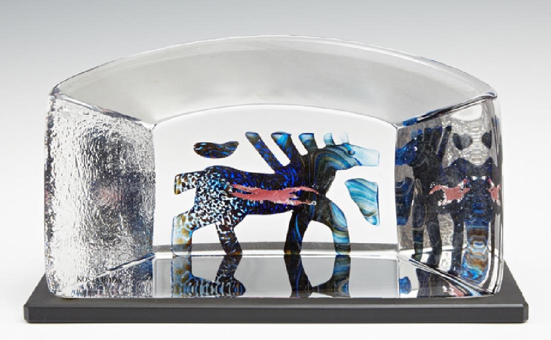 "Bertil Vallien, ""Horse,"" glass block paperweight for"