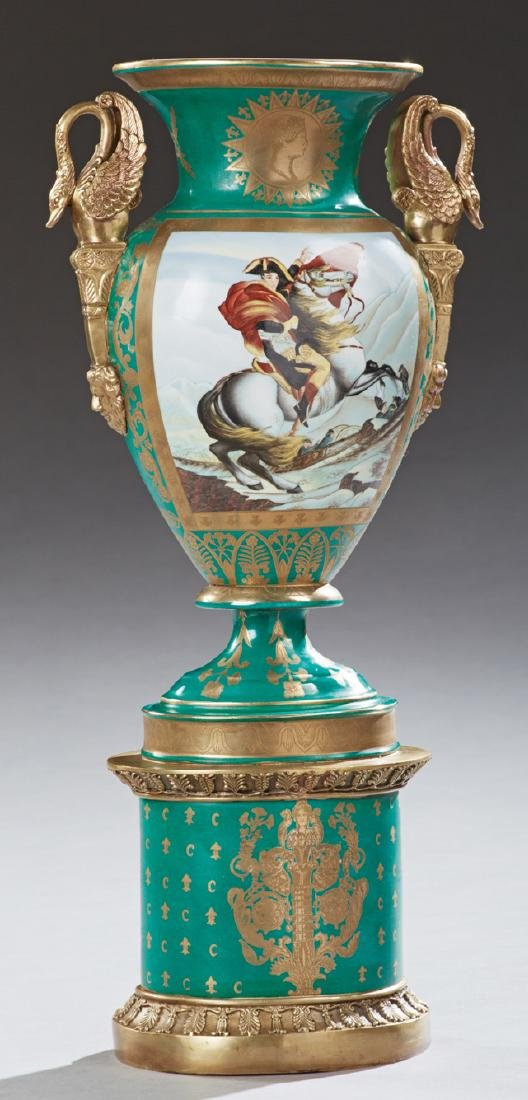 French Empire Style Porcelain and Gilt Bronze Vase,