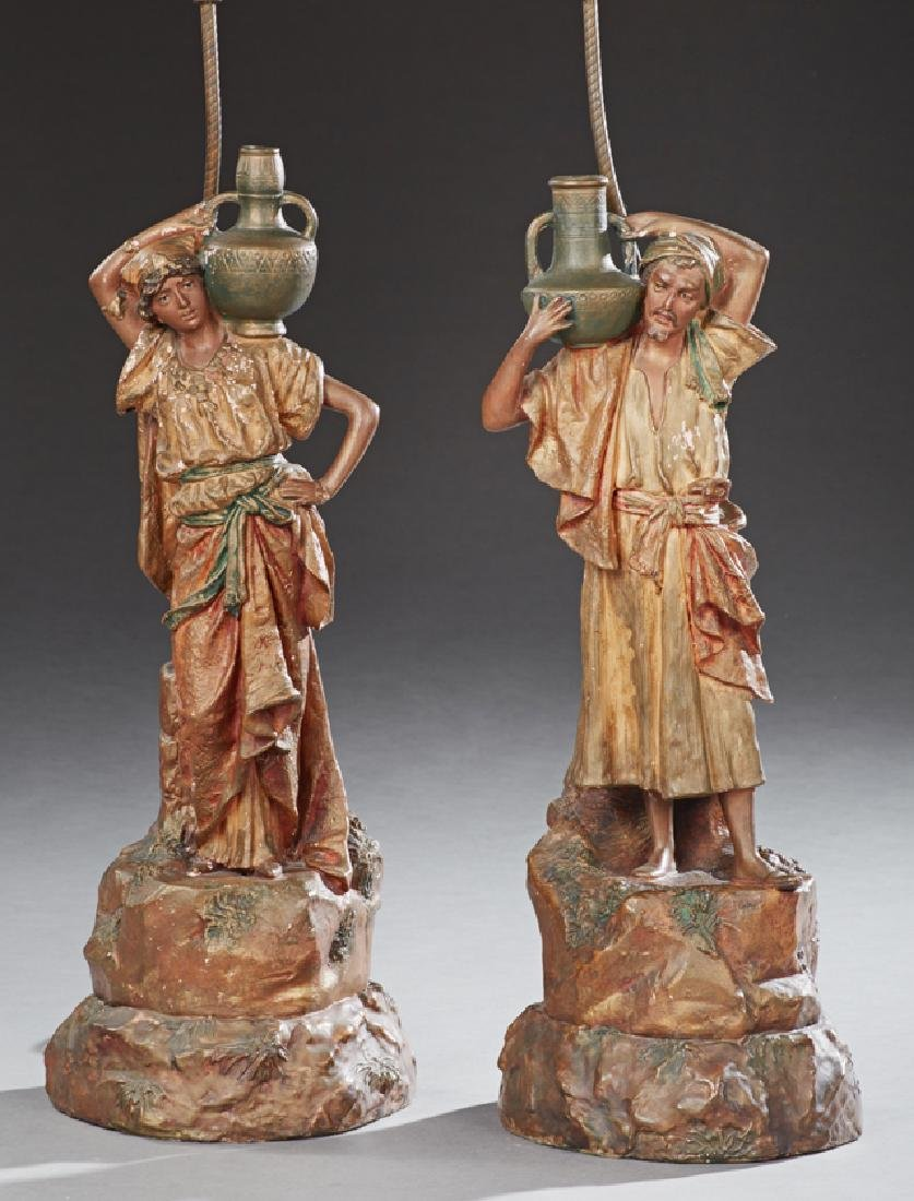 Pair of Figural Earthenware Lamps, early 20th c., in