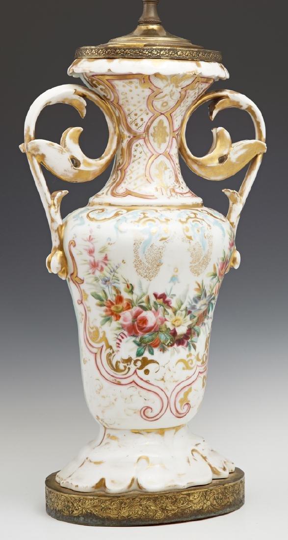 Old Paris Porcelain Baluster Vase, 19th c., with gilt