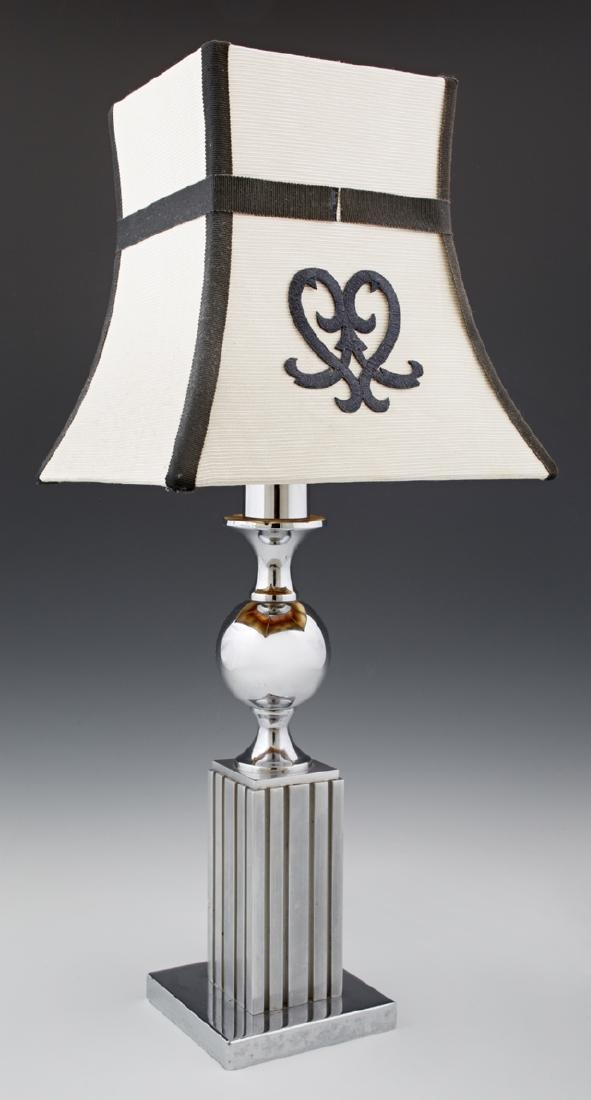 Chrome Post-Modern Table Lamp, 20th c., with a tapering