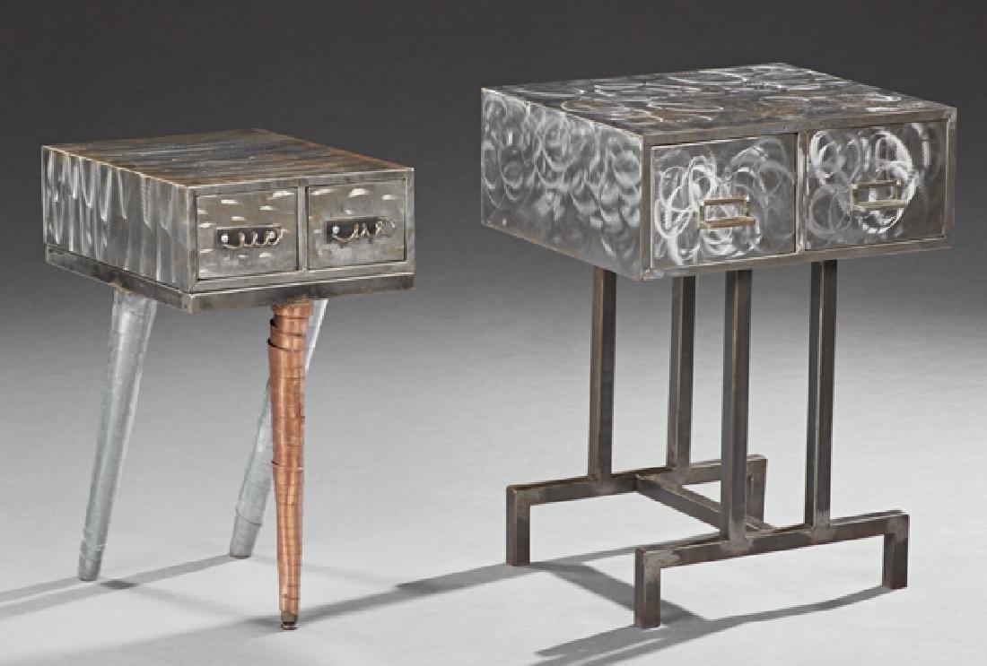Pair of Mid-Century Modern Industrial Steel Tables,