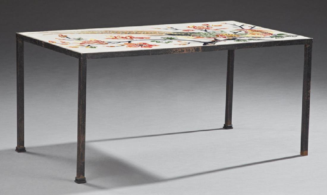 French Wrought Iron Tile Top Coffee Table, 20th c.,