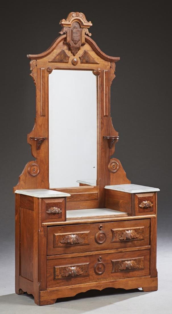 American Victorian Marble Top Dropwell Dresser, c.