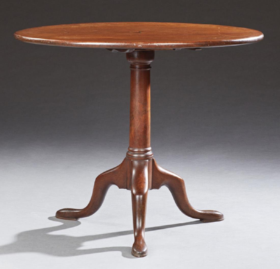 English Inlaid Mahogany Tilt Top Center Table, c. 1900,