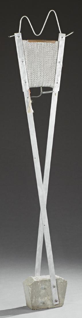 Mid Century Modern Aluminum Floor Lamp, 20th c., on a