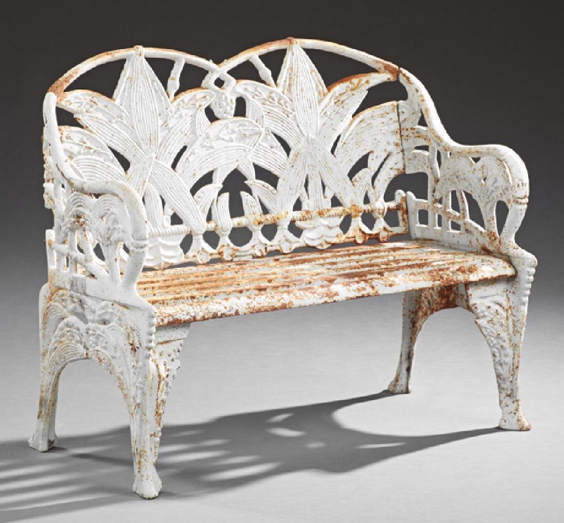 Aesthetic Style White Cast Iron Garden Bench, 20th c.,