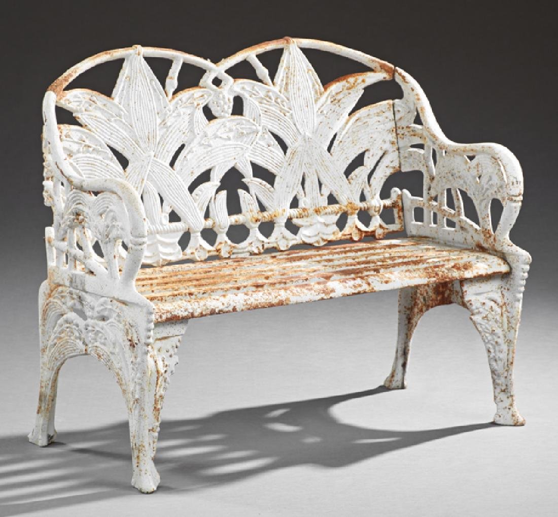 Aesthetic Style White Cast Iron Garden Bench, 20th c.,