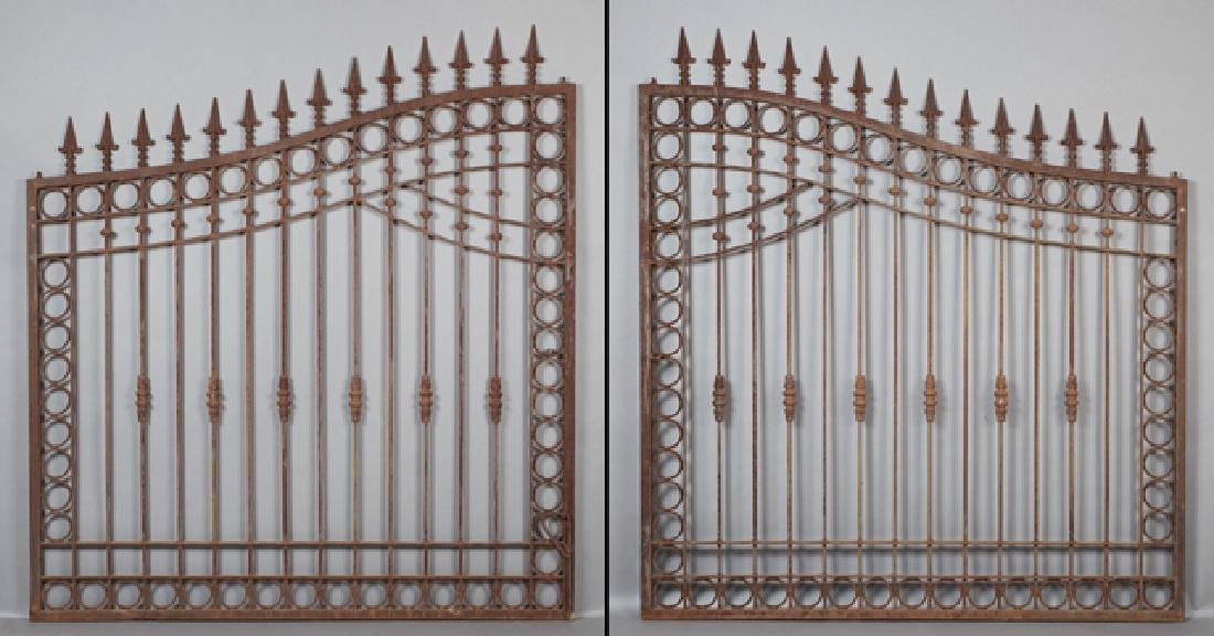 Pair of Cast Iron Driveway Gates, 20th c., of arched
