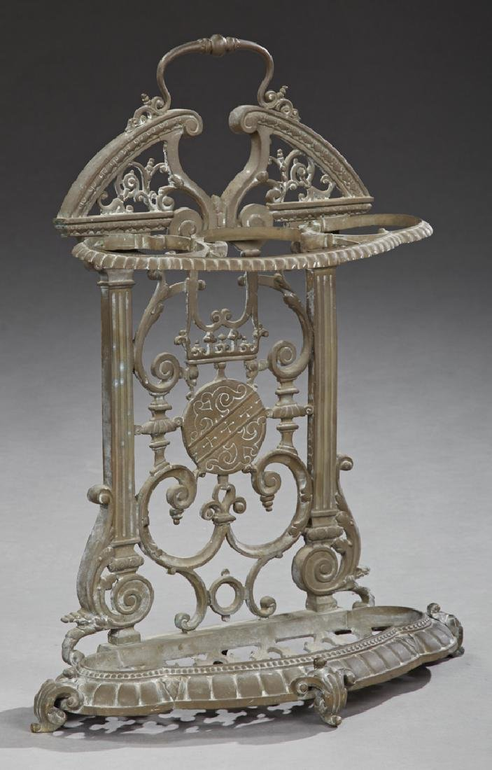 French Cast Iron Umbrella Stand, c. 1870, the arched