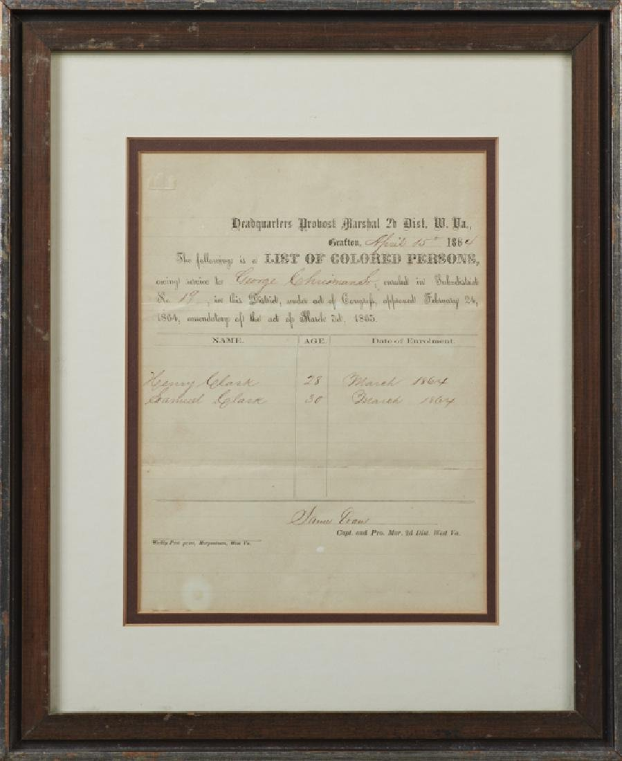 Slave Document, April 15, 1864, West Virginia, from the