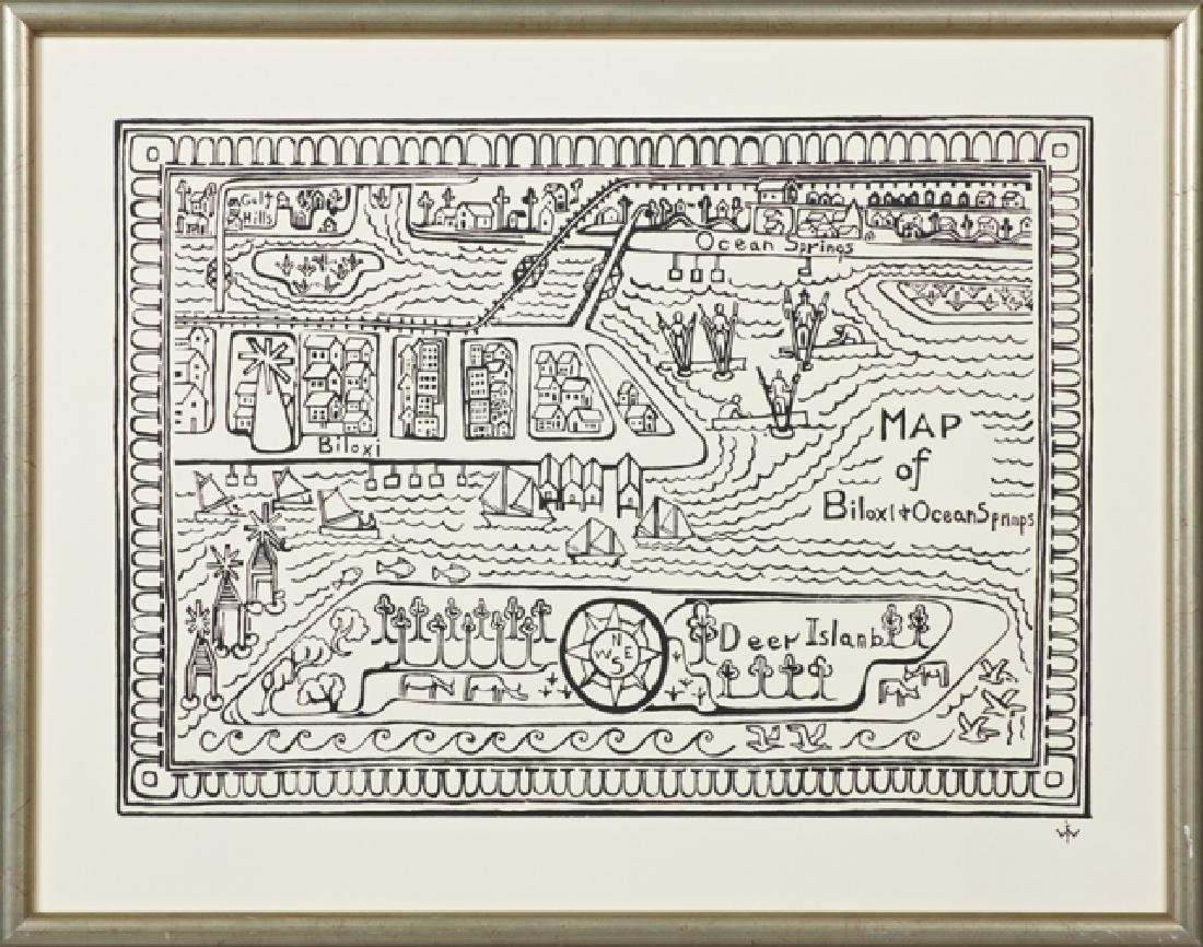 """After Walter Anderson (1903-1965), """"Map of Biloxi and"""
