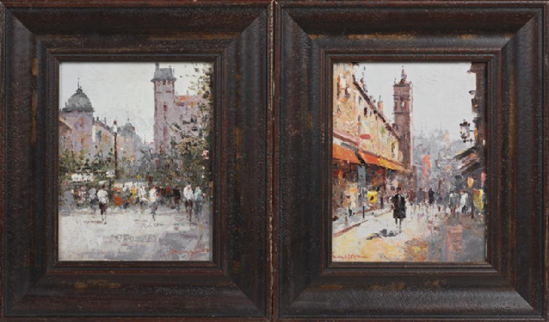 "Continental School, ""Street Scenes,"" 20th c., pair of"