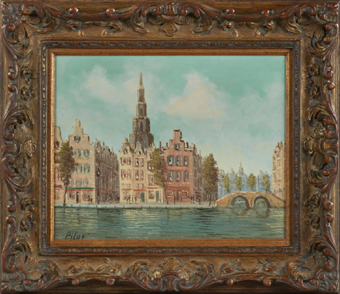 """Pilar, """"Continental Canal Scene,"""" 20th c., oil on"""