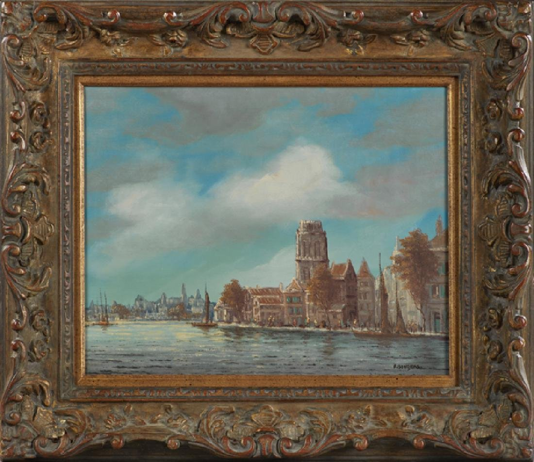 "A. Bungers, ""Continental Canal Scene,"" 20th c., oil on"