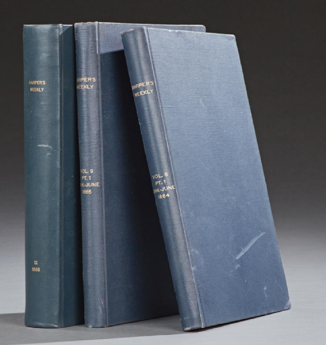 Three Bound Volumes of Harpers Weekly Magazines, from