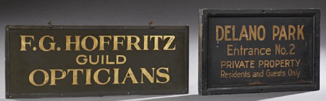 "Two Painted Trade Signs, 19th c., one for ""Velano Park,"