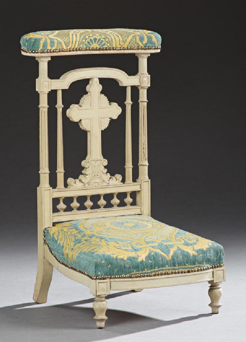 French Polychromed Carved Beech Prie Dieu, 19th c., the
