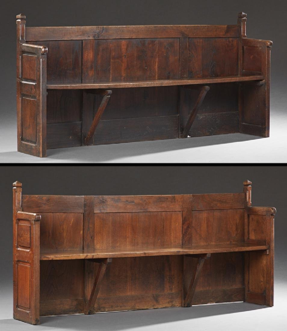 Pair of French Provincial Carved Oak Church Pews, 19th