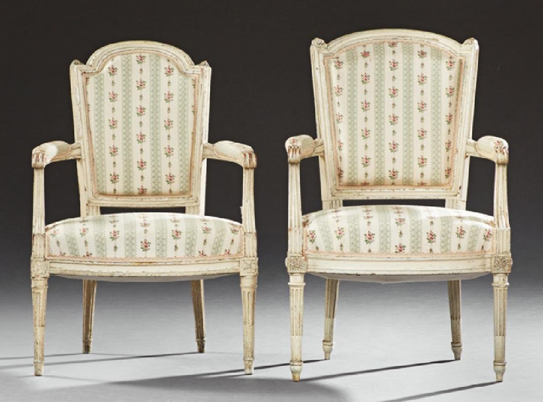 Pair of French Louis XVI Style Polychromed Fauteuils,