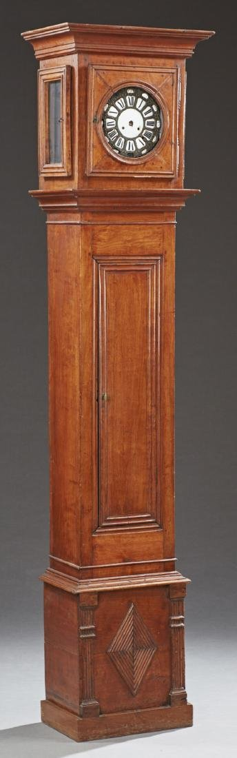 French Carved Walnut Tallcase Clock, 20th c., the