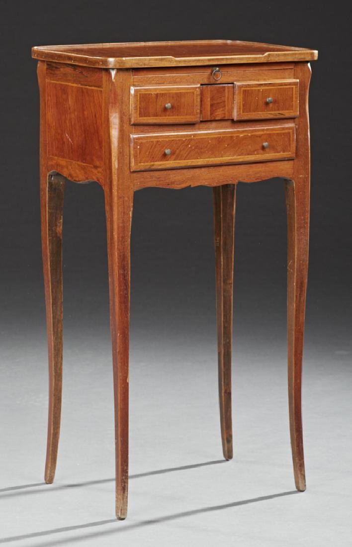 Louis XV Style Inlaid Mahogany Nightstand, early 20th